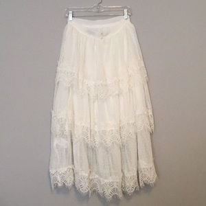 Anthropologie Skirts - Tiered Maxi with Lace Trim.